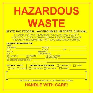 CA hazardous waste label
